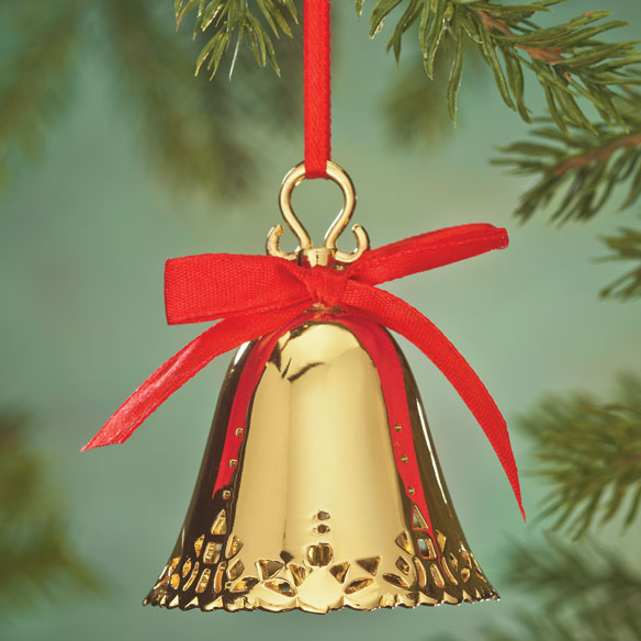 Personalized Gold Bell Ornament Engraved