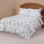 Bedroom Basics - Blue Floral Scalloped Quilt by East Wing Comforts™