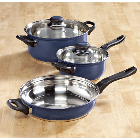 5-pc. Blue Stainless Cookware Set by Home-Style Kitchen™