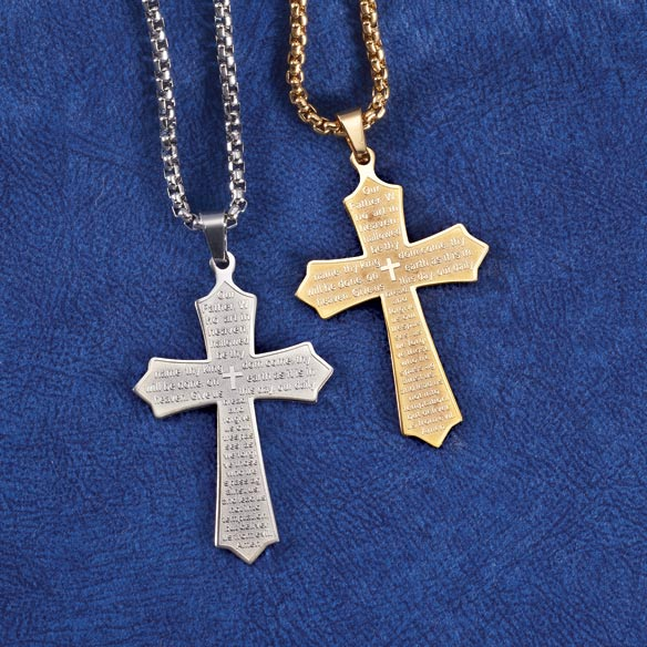 Personalized Lord's Prayer Cross Necklace