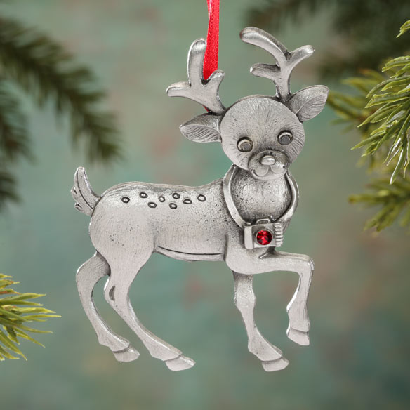 Randolph the Reporting Reindeer Pewter Ornament - View 1
