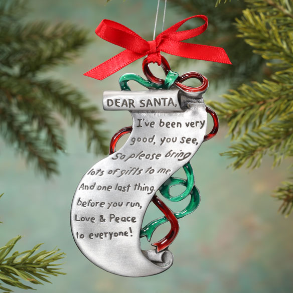 Christmas List Keepsake Pewter Ornament - View 1