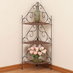 Three Tier Wicker & Metal Corner Shelves by OakRidge Accents™
