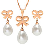 Jewelry Collection - Faux Pearl Bow Earring and Necklace Set