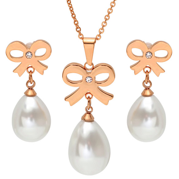 Faux Pearl Bow Earring and Necklace Set
