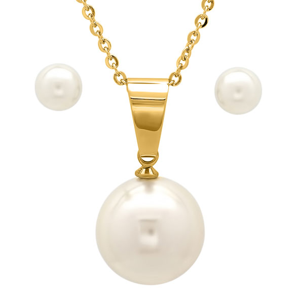 Faux Pearl Earring and Necklace Set