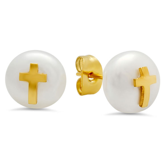 Faux Pearl Earrings with Cross