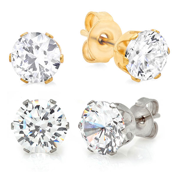 CZ Stud Earrings Set of 2