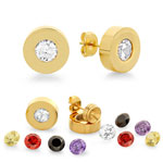 HMY Jewelry Collection - Interchangeable CZ Stud Earrings