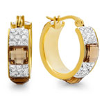HMY Jewelry Collection - CZ and Crystal Hoop Earrings