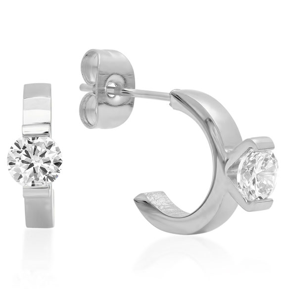 CZ Ring Stud Earrings