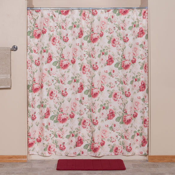 English floral shower curtain shower curtain walter drake for Shower curtain savers