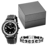 HMY Jewelry Collection - Men's Black and White Watch and Bracelet Set