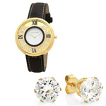 HMY Jewelry Collection - Women's Floating Crystal Watch and Earring Set
