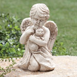 Lawn & Garden - Angel with Cat Memorial Statue