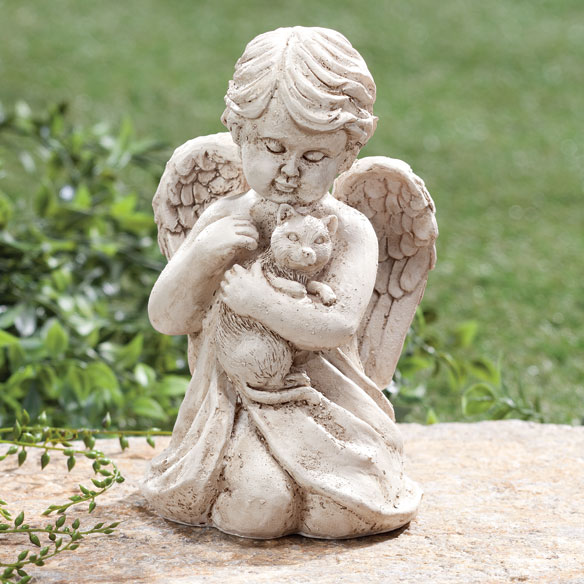 Angel with Cat Memorial Statue - View 1