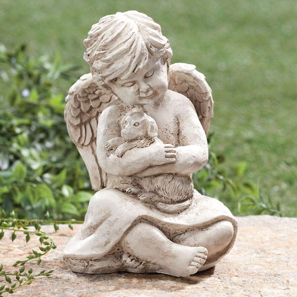 Angel with Dog Memorial Statue - View 1