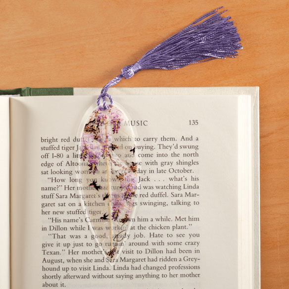 Leaf Bookmark with Birds, Purple
