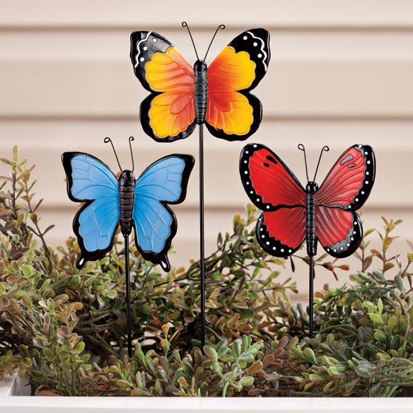 Resin Butterfly Planter Stakes by Maple Lane Creations™ - Set of 3