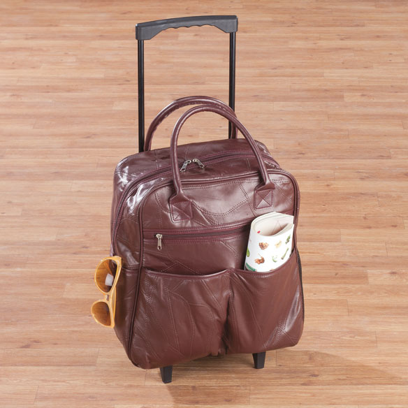 Burgundy Patch Leather Rolling Tote
