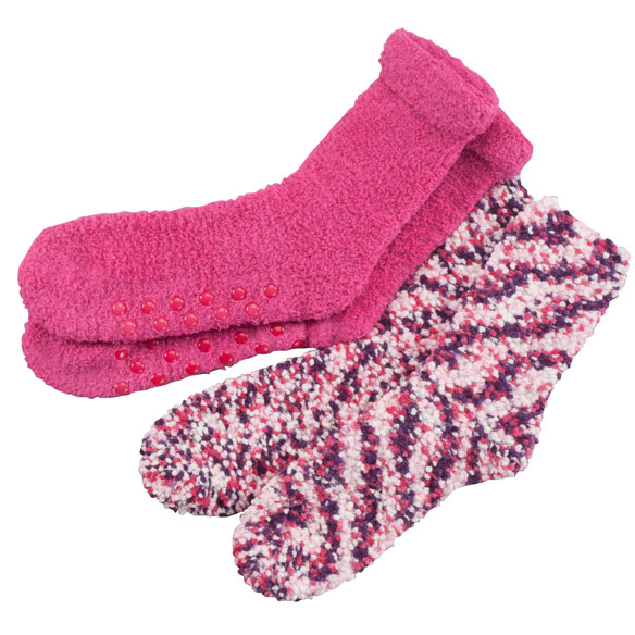 Popcorn and Chenille Luxury Socks, 2 Pairs