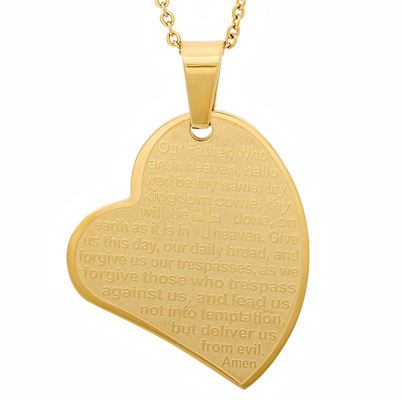 Lord's Prayer Heart Pendant Necklace