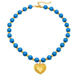 HMY Jewelry Collection - Blue Beaded Necklace with Heart Pendant