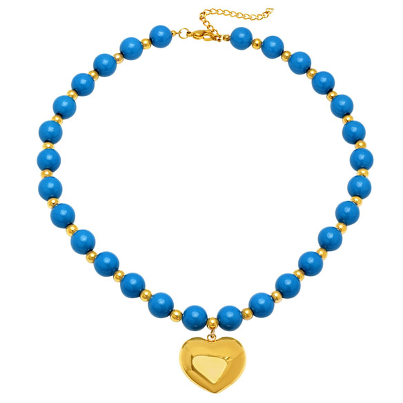 Blue Beaded Necklace with Heart Pendant
