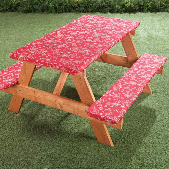 Fanciful Flowers Deluxe Picnic Tablecover - View 1