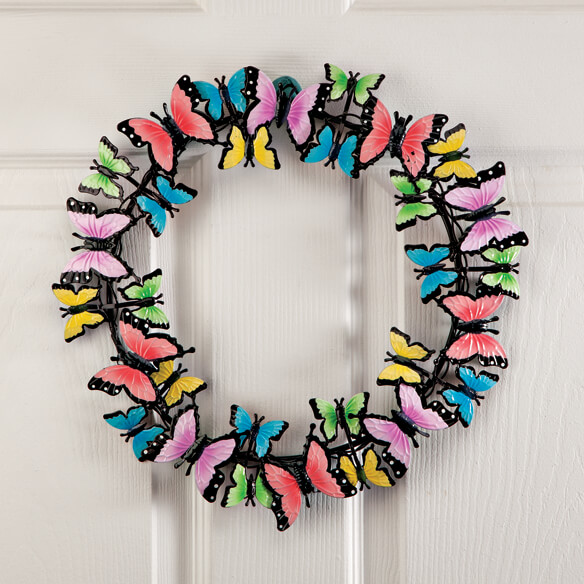 "14"" Metal Butterflies Wreath by Maple Lane Creations™ - View 1"