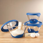Perfect Cookout - Glass Mixing Bowls with Blue Lids, Set of 3