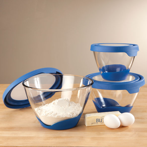 Glass Mixing Bowls with Blue Lids, Set of 3 - View 1