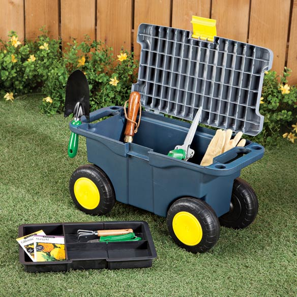 Sit-On Garden Tool Scooter with Storage