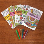 Flash Sale - Adult Mini Coloring Books, Set of 5 with Gel Pens