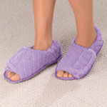 New - Quilted Chenille Adjustable Toe Slippers