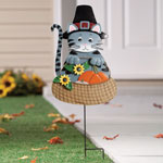 Decorations & Storage - Pilgrim Cat Lawn Stake by Maple Lane Creations™