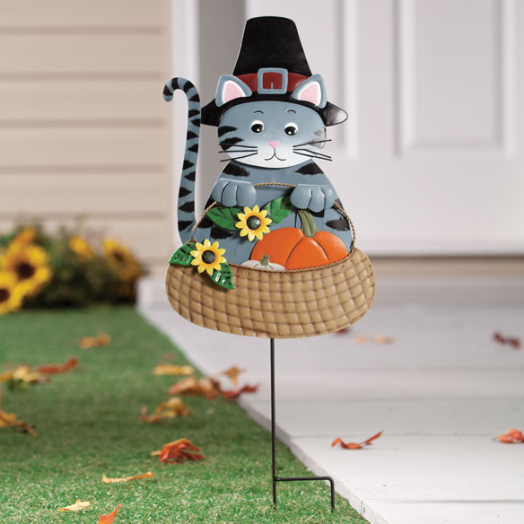 Pilgrim Cat Lawn Stake by Maple Lane Creations™