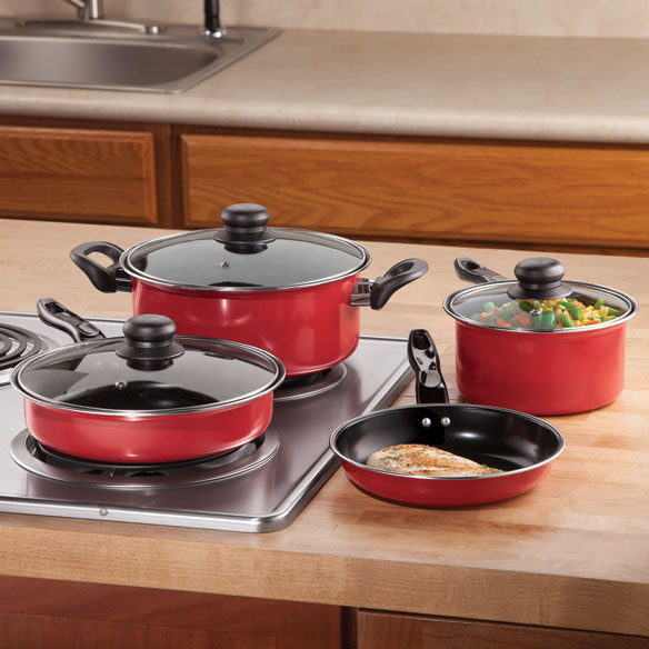 Red Non-Stick Steel Cookware, 7 Piece Set