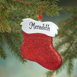Decorations & Storage - Personalized Glitter Stocking Ornament