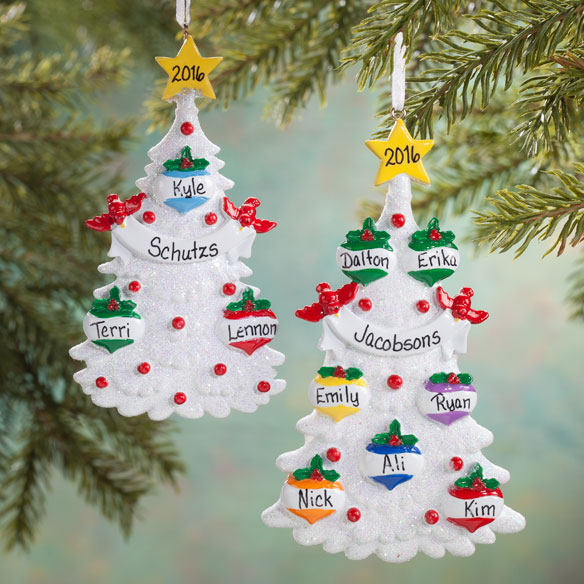 Personalized White Glitter Tree Ornament - View 1