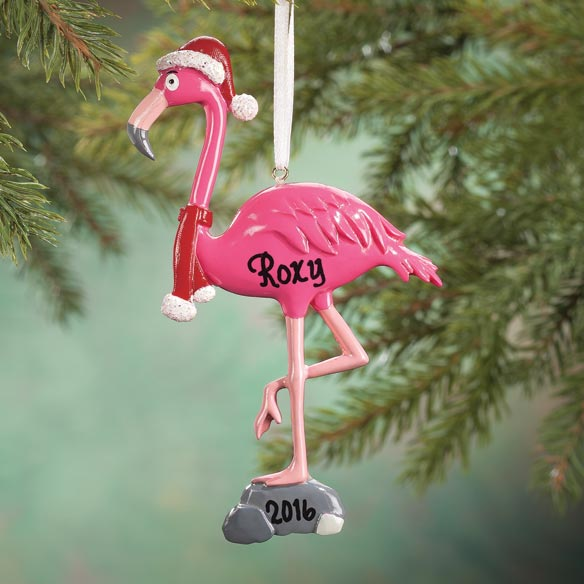 Personalized Santa Flamingo Ornament