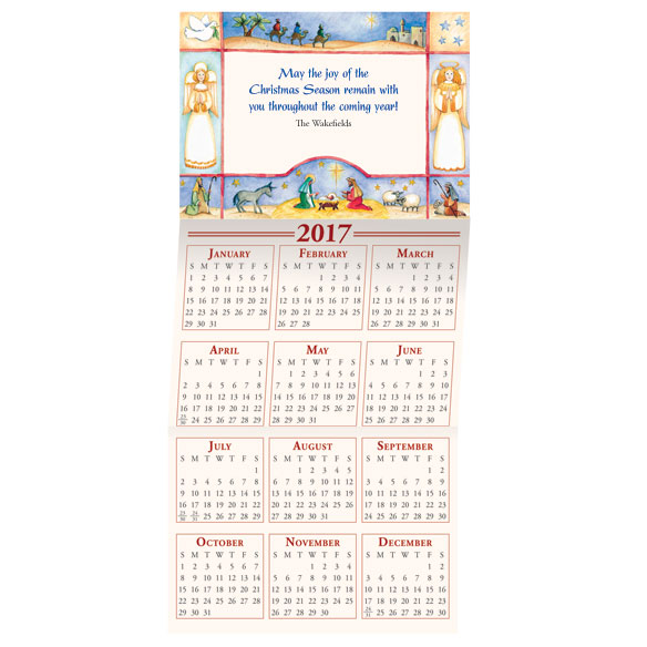 2017 Religious Folk Art Calendar Christmas Card Set of 20