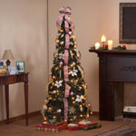 Holidays & Gifts - 6-Foot Fully Decorated Victorian Pull-Up Tree