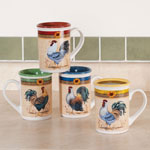 New - Morning Call Coffee Mugs, Set of 4