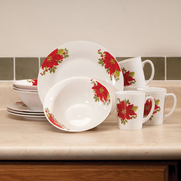 Noble Poinsettia Fine Ceramic Dinnerware, 12 Pieces