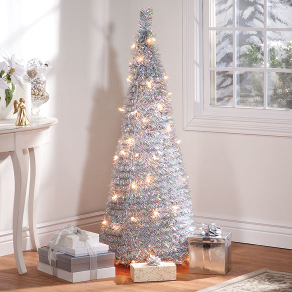 4-Foot Silver Tinsel Pull-Up Tree with Lights - View 1