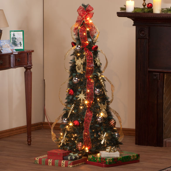 4-Foot Fully Decorated Red & Gold Pull-Up Tree - View 1