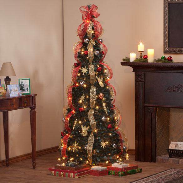 6-Foot Fully Decorated Red & Gold Pull-Up Tree - View 1