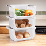 Organization & Decor - Stackable Vegetable Bins, Set of 3
