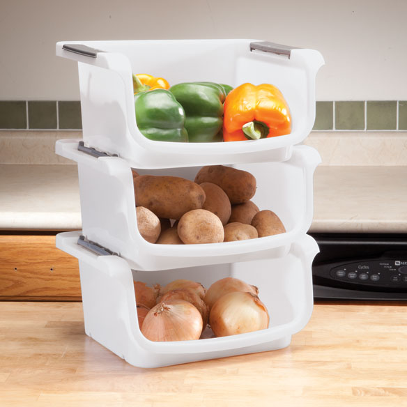 Stackable Vegetable Bins, Set of 3